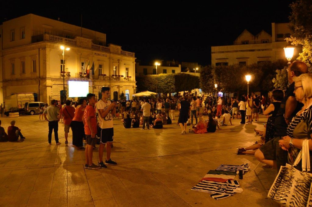 Soccer night in the piazza