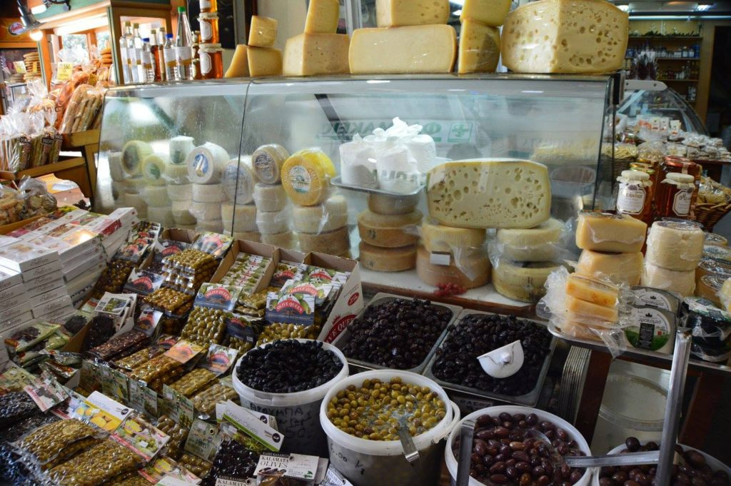 Olives and cheese in the ndoor market