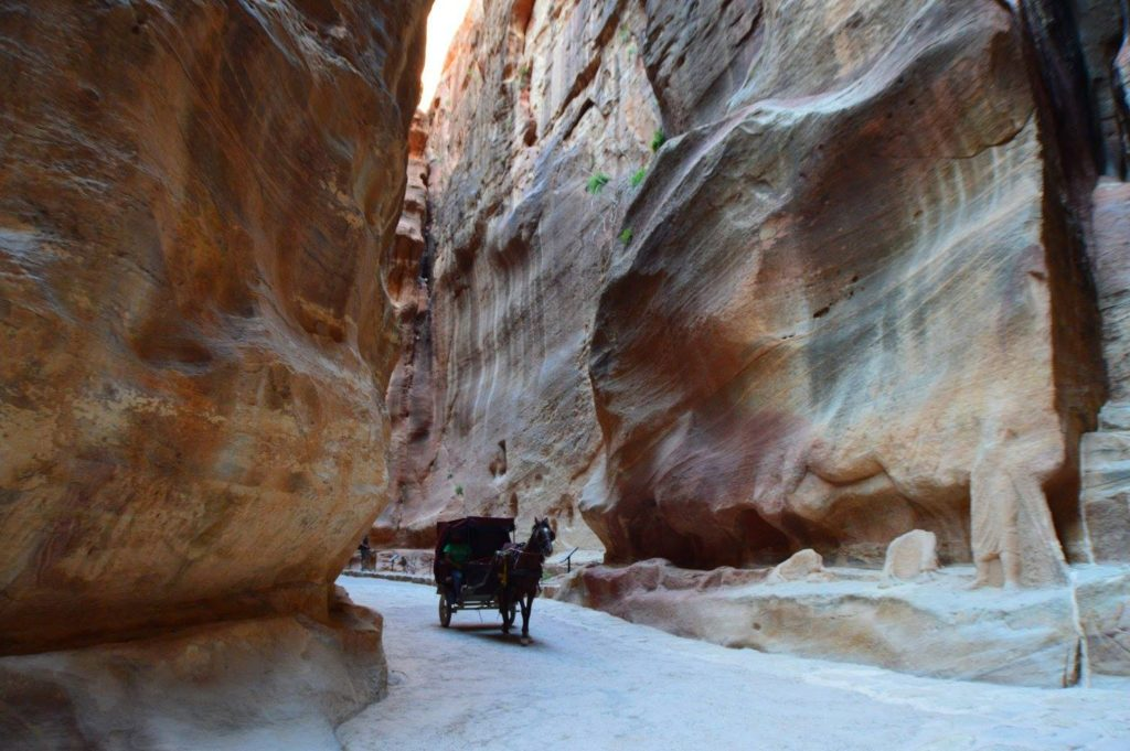 Horse drawn carriage through the Siq